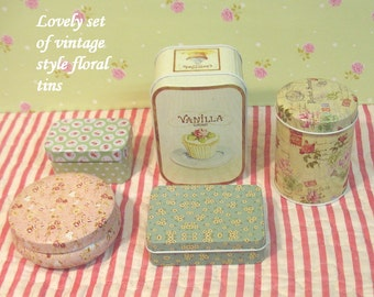 Lovely set of 5 most adorable tin boxes in different sizes