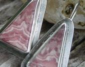 Pink Rhodochrosite and Sterling Silver Dangle Earrings