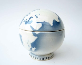 French vintage AMORA advertising MUSTARD POT⎮world globe shaped⎮Digoin France ceramic⎮blue white black⎮French collectible