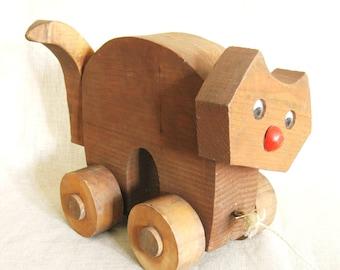 Cat Pull Toy, Folk Art Pull Toy, Kitty Pull Toy, Handmade Toys, Wooden Toys, Handmade Wood Toys, Pull Toys, Animals, Handmade, Feline, Cats