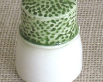 Hand Painted Ceramic Thimble, Handmade , Sewing Aid, Tools, Signed and Dated, Needlework Supplies, White and Green, Embroidery