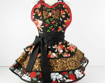 Wild Cherries Skulls and Roses Apron by Dots Diner  Womens Apron Retro Cute Vintage Pinup