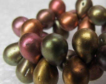 Czech Glass Teardrop Beads 6 x 4mm Smooth Matte Metallic Medley  - 50 Pieces
