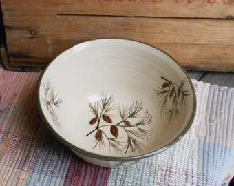 Large handmade ceramic bowl - 32 oz bowl - Handmade pottery serving bowl - Large Rustic Pottery Bowl in Pinecone 120502