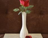 Bud Vase-Vintage White Milk Glass Ribbed Bud Vase--Carr-Lowery Glass Co Flower Holder--Valentines Day Gift for Her early 90s