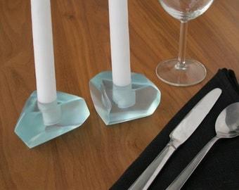 Gems Candle Holders-Aquamarine, Translucent Resin Candle Holders, Centerpiece, Hostess Gift, Wedding Gift, Bridal Gift