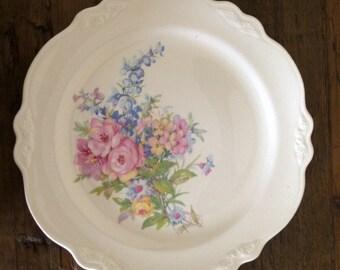 Vintage Ceramic Floral Serving/Cake Plate Platter