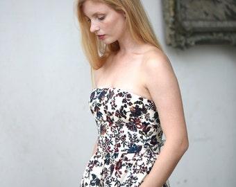 Floral strapless evening dress / Tea length flower print -  20% off - summer sale