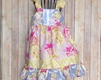 Vintage Boutique Girls flutter sleeve dress, sizes 6mos-8, toddler and infant  dress, girls spring easter ruffle dress