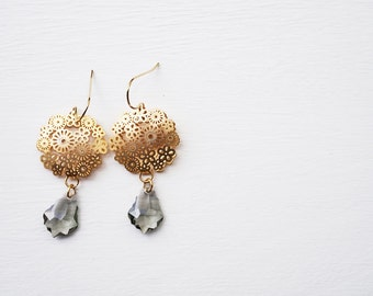 Smoke and Lace - crystal and gold drop earrings