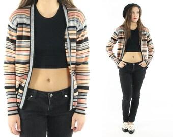 Vintage 70s Striped Cardigan Knit Jacket Peach Black Blazer 1970s Preppy Hippie Cardigan Sweater Medium M Large L