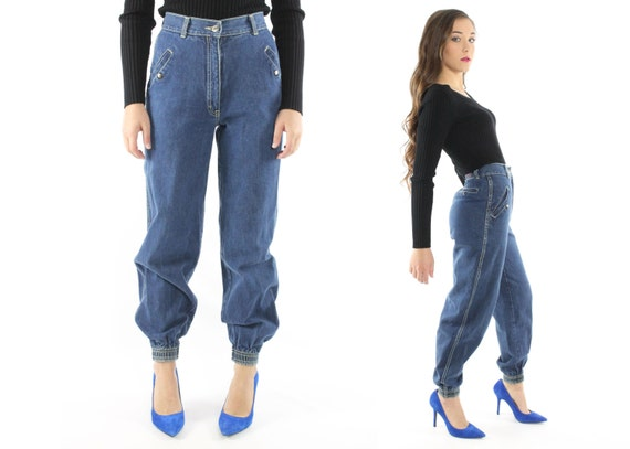 vintage 80er jahre hoch taillierte jeans jogger blau denim. Black Bedroom Furniture Sets. Home Design Ideas