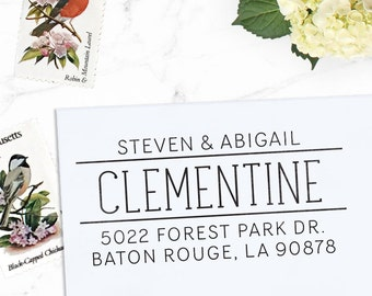 Custom Address Stamp, Personalized Address Stamp, Calligraphy Stamp, DIY, Modern Wedding Address Stamp, Eco Mount or Self Inking- Clementine