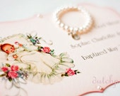 PEARL BRACELET and BAPTISM card - Personalized religious kids jewelry bracelet with cross  stretch bracelet baby girl pearl bracelet jewelry