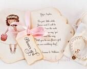 Gift for Flower girl CARD and BRACELET Will you be my Flower Girl INVITATION box satin ribbon - personalized pearl bracelet flowergirl