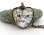 Austin Map Necklace, Texas,  Heart Pendant with Chain