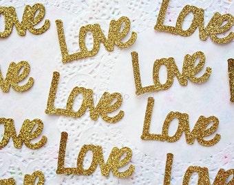 50 Love Confetti - Glitter Confetti - Wedding Confetti - Baby Shower Confetti - Valentines Day Confetti - Made to Order