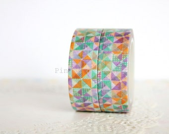 Geometric Washi Tape - Scrapbooking - Gift Wrapping - Packaging Supplies - 1 Roll - 10 mt - Ready to Ship