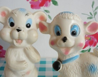 Squeaking Bear and Sheep Vintage Rubber Toys Figurines - Set of Two