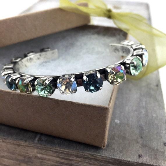 SWAROVSKI CRYSTAL BRACELET, bangle, 39ss, Silver Oxide, Indian Sapphire, Chrysolite, Moonlight, Luminious Green, Gift for Her