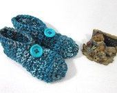Crochet Slippers in Dark Teal ~ Size Medium, Womens House Shoes ~ Gift for Mom ~ Present for Grandma ~ Warm, Cozy Slip On Slipper Socks