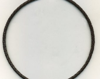 Brown Braided Leather Cord Necklace (Choker) 5 mm-your choice of size