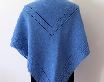 Hand knit blue shawl in merino cashmere