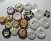 20 China Buttons in Lot - 2 hole-4hole-Stencil-Ringer - Fisheye - Mound - Hollow Eye & More