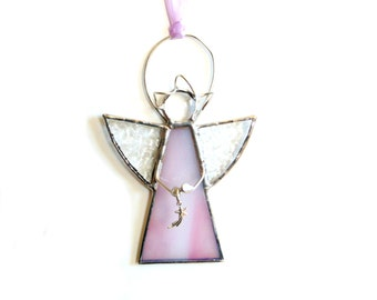 Stained glass angel suncatcher, pink angel, Christian faith, shooting star angel, hanging angel gift under 20, angel ornament