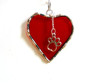 Stained glass heart suncatcher, I love my dog, red heart dog ornament, dog lover gift under 15, dog paw charm suncatcher