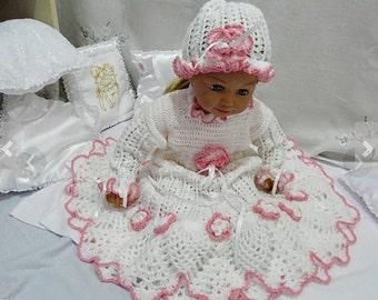 Baptism gown Christening  Crochet Kit baptism  crochet baptism dress  crocheted baby girls dress  Crocheted costume baptism White Baptism