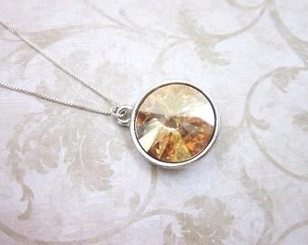 Amber Swarovski Necklace -- Swarovski Pendant Necklace -- Silver & Amber Necklace -- Amber Drop Necklace -- Golden Shadow Necklace