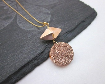 Rose Gold Spike Necklace -- Spike & Druzy Necklace -- Crystal and Druzy Necklace -- Rose Gold Druzy Necklace -- Faux Druzy Necklace