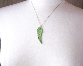 Lime Green Necklace -- Angel Wing Pendant Necklace -- Fairy Wing Necklace -- Patina Charm Necklace -- Green Wing Necklace -- Wing Necklace