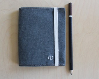Monogrammed pocket refillable notebook in handwaxed canvas //waxed canvas journal