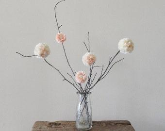 Pom Pom Flowers - Peach and Cream - Spring Centerpiece - Rustic Country Wedding/Shower Decor - Minimalist Decor - Child/Baby Nursery Decor