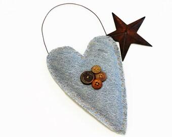 Blue Denim Heart Ornament - Weddings - Rustic Country Home Decor - Recycled Blue Jeans - Soft Sculpture Heart - Folk Art Denim Heart