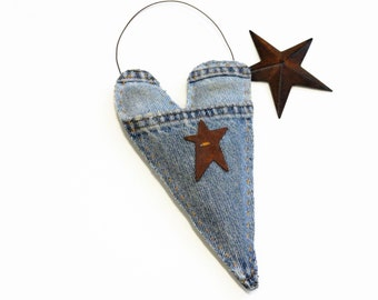 Blue Denim Heart Ornament - Rustic Country Decor - Weddings - Faded Blue Jeans - Kids' Rooms - Love - Recycled Jeans - Soft Sculpture Heart