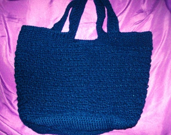 Criss Cross Reversible Tote Bag Crocheted Large Tote Navy Blue  Tote Bag