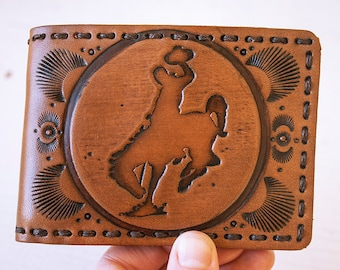 Handmade Leather Wallet - Western Rodeo Cowboy - Wyoming - Bucking Bronco - Horseshoe - Custom - Mesa Dreams - Men's - Unisex billfold