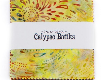 "Calypso Batiks by Moda for Moda ~ 100% Cotton ~ 40 / 5"" Square Charm Pack"