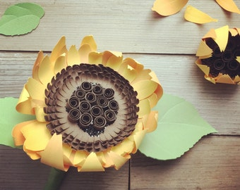 Paper sunflower bouquet or stem