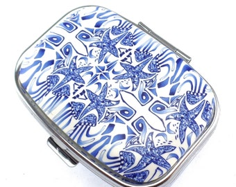 2 Compartment Polymer Clay Covered Pill Box, Pill Case, Delft Design, Ocean