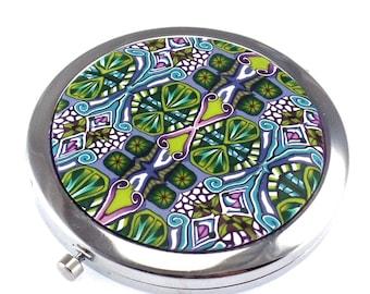 Polymer Clay Compact Mirror, Blue, Green Design