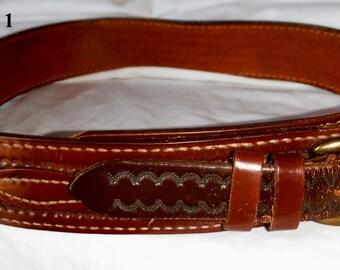 Choose Pick from list below..Vintage Mens Embossed Leather Embossed Tooled Pattern Belts sz 30 32 42 44 (50 % OFF APPLIED)