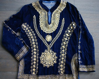 70s Vintage BLUE VELVET Gold Embroidered BOHO Dashiki Princess Tunic Top (m-l)