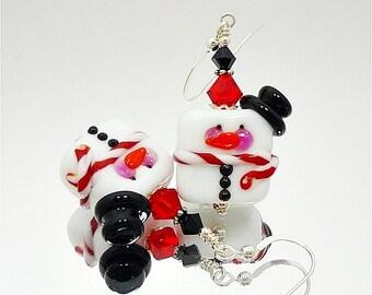 Ice Cube Snowman Earrings, Lampwork Earrings, Glass Snowman Earrings, Fun Christmas Earrings, Whimsical Earrings, Beadwork Earrings