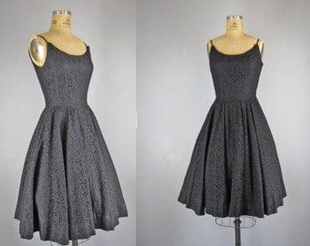 1950s Vintage Dress l 50s Jonathan Logan Black Lace Dress