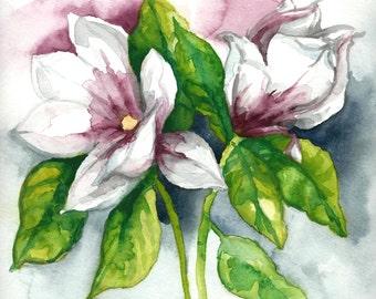 Original Watercolor Painting - Magnolia
