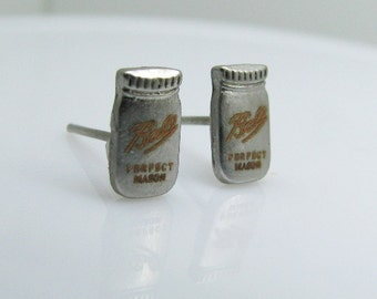 Tiny Mason Jar Earrings